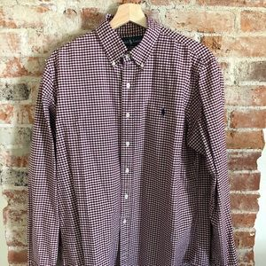 Custom Fit Polo Button Down Maroon